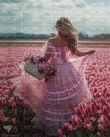 femme,fond,fille,champ de tulipes, Pelageya