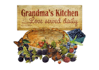 text sign bouclier schild grandma kitchen fruits cake   autumn automne herbst tube   deco