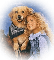 child girl with dog enfant chien