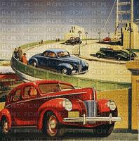 car-park cars road vintage paintinglounge