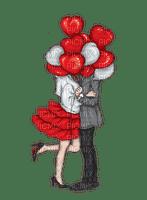 Couple Love Heart Red White - Bogusia