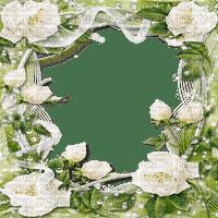 white roses frame cadre rose blanc