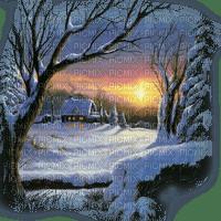 winter house landscape sunset  hiver maison coucher de soleil