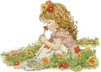 enfant jardin fleur child garden flowers