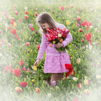 child girl tulips field enfant fillette champ tulipe🌷🌷s