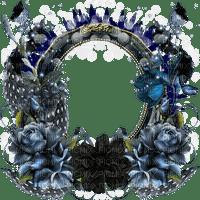 frame cadre flower fleur dark circle feather blue