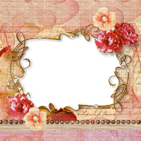 frame cadre rahmen  tube vintage pink flower fleur blumen fond background overlay fleurs