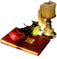 candle book and flowers Joyful226