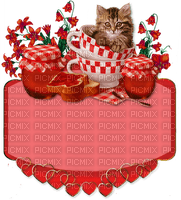 cat chat katze animal text breakfast fond red cup confiture jam tube deco