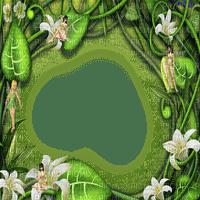 frame  leaves flowers fairy  cadre feuilles fleur feerie
