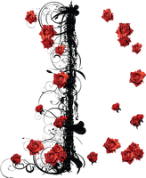 kikkapink red rose roses branch black gothic deco