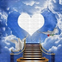 Fond ciel debutante coeur oiseau escaliers nuage rose rouge blue sky bg cloud bg white bird heart stairs flower