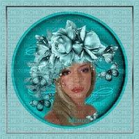 minou52-kvinna med blommor i håret-turkos