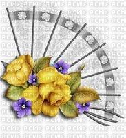 Eventail blanc roses jaunes