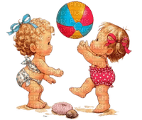 Kaz_Creations  Baby Enfant Child Girl Friends Beach Playing