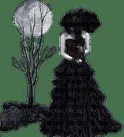 woman goth umbrella moon