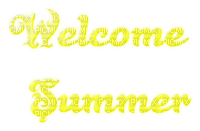 welcome summer text yellow