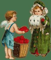St. Valentin couple love heart vintage children_Saint Valentin couple amour cœur enfants