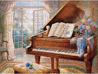 Piano in room with French Doors
