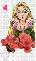 Blond girl n red roses