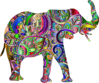 éléphant elephant elefant  deco tube animal art abstract colorful colored