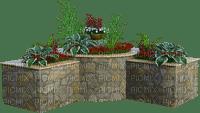 Plantas en macetas de cemento