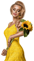 Woman in yellow dress and sunflower