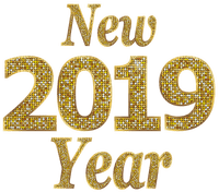 new year 2019 text gold