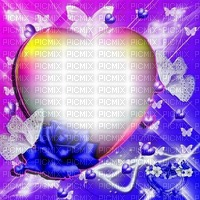 Fond coeur papillon rose bleu fleurs Debutante