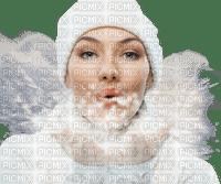 woman winter snow face