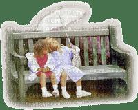minou-girl-sitting on bench -sitter på bänk-paraply