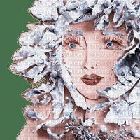 woman art face winter leaves