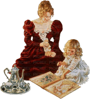 victorian-woman-child-book