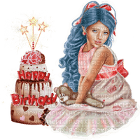cake-gâteau-joyeux anniversaire-happy Birthday-FILLE-GIRL-BlueDREAM70
