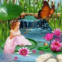 image encre couleur texture effet fille enfant papillon fleurs printemps paysage edited by me