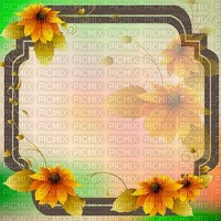 fond-background-encre-tube-cadre floral -decoration-tube-image-green and yellow_ cadre Sunflower_Blue DREAM 70