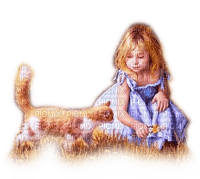 Rena Child Kind Girl Cat Vintage