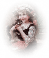 vintage child cat enfant vintage chat