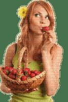 Woman Strawberry Basket Yellow Brown -  - Bogusia
