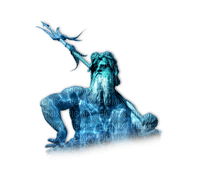 statue homme neptune/poseidon bleu