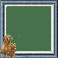 rfa créations - cadre bleu, blanc, chien et chat