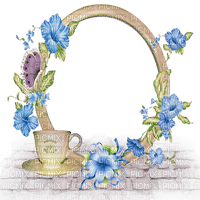 blue flowers circle frame