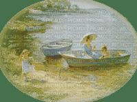 vintage femme enfant lac bateau vintage woman child boat lake