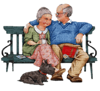 old couple bench paintinglounge
