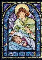 Stained Glass Guardian Angel Girl Joyful226