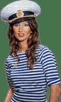 Woman  White Blue Brown Sailor - Bogusia