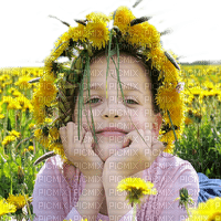 enfant fleur pissenlit  printemps  child girl spring  flowers dandelion  👧👧