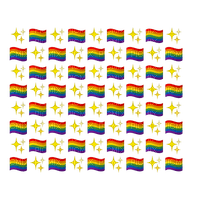Rainbow Pride flags and glitter overlay