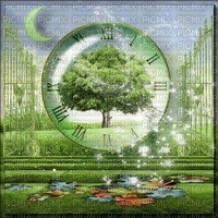 Background Green Moon Time Clock - Bogusia