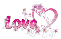 love text pink floral deco